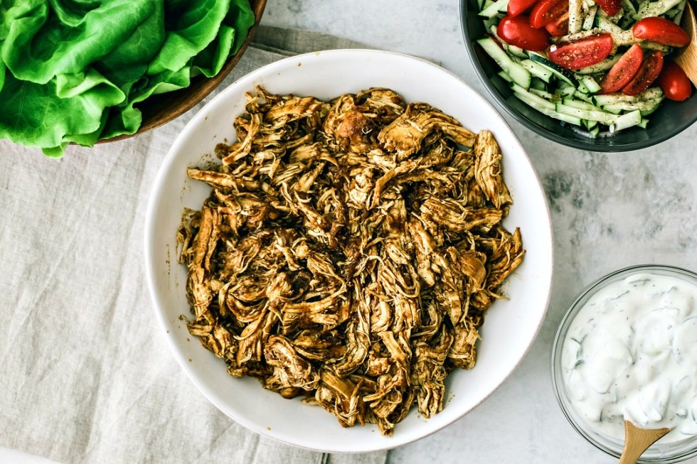 Instant Pot Chicken Shawarma in a bowl