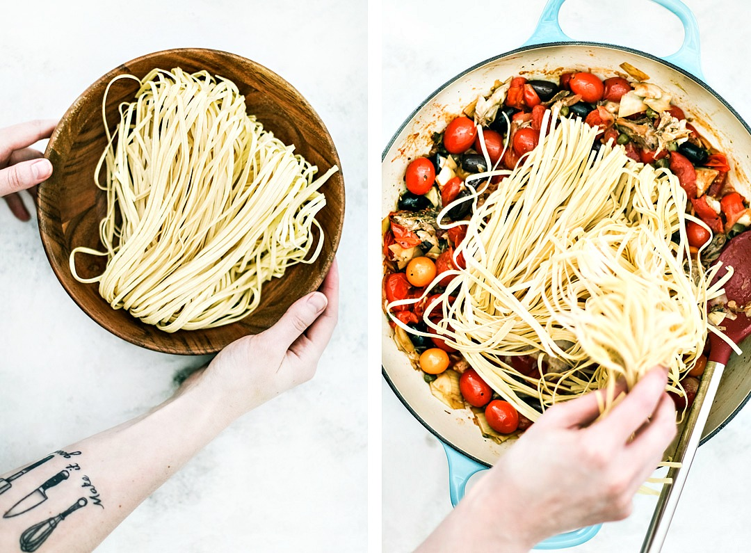 One-Pot Mediterranean Pasta With Mackerel ingredients