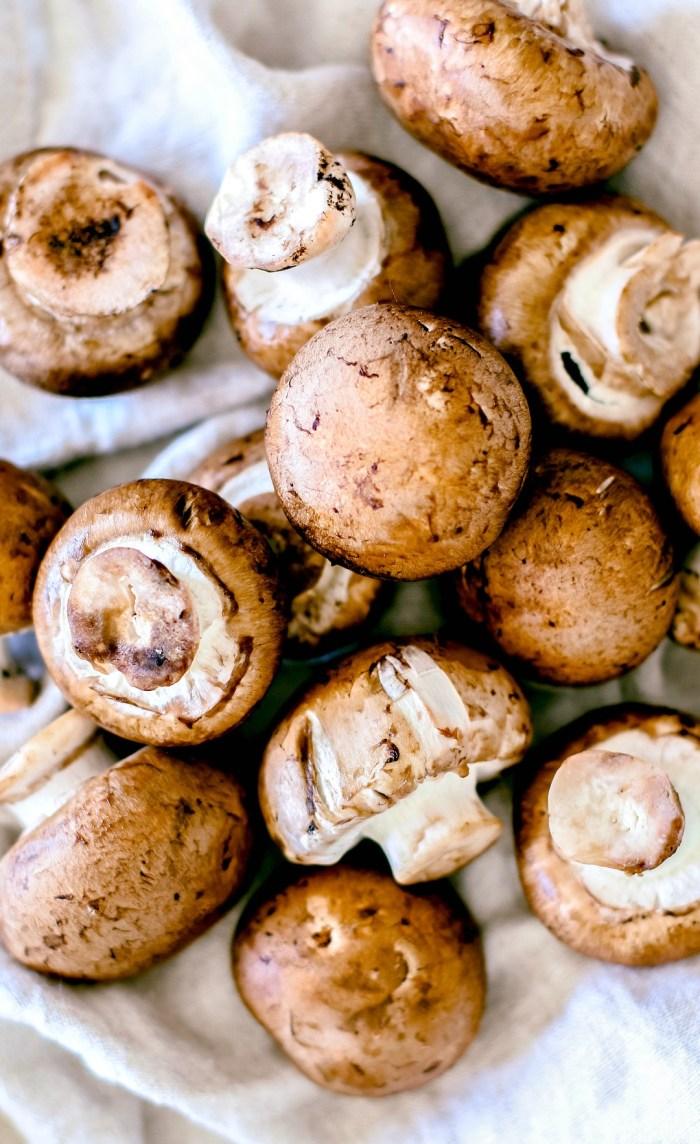 Pile of fresh baby bella mushrooms