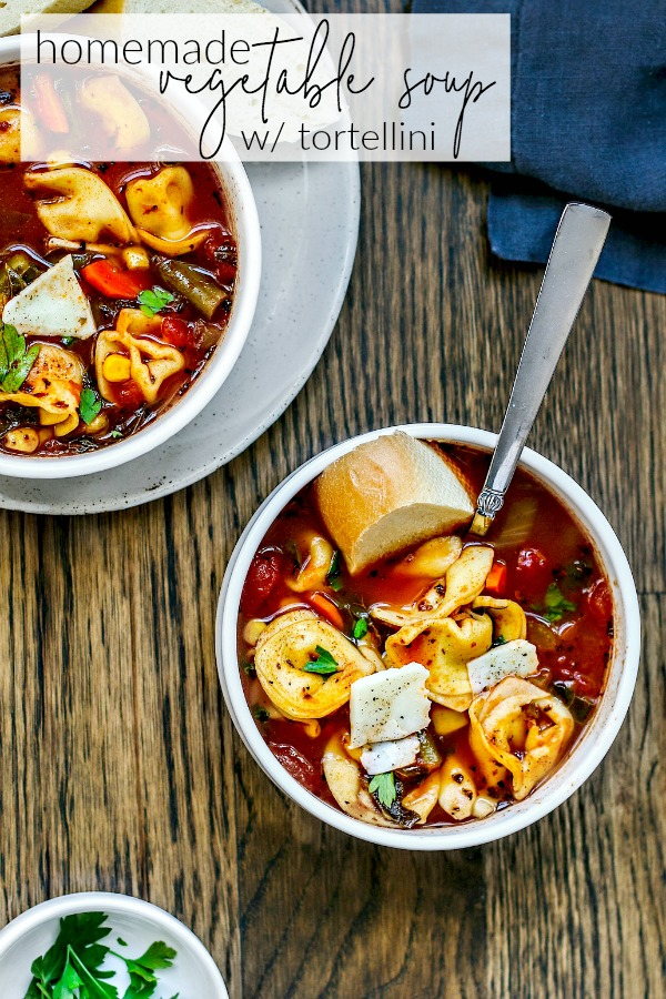 Cozy Homemade Vegetable Soup With Cheese Tortellini! #soup #souprecipes #vegetablesoup #tortellini #easyrecipe #easydinner #comfortfood #homemade #vegetarianrecipes #vegetariancooking #recipes #healthyrecipes #healthyfood