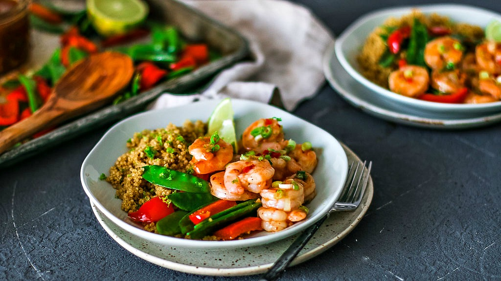 Plate of Spicy Thai Sweet Chili Shrimp and vegetables.