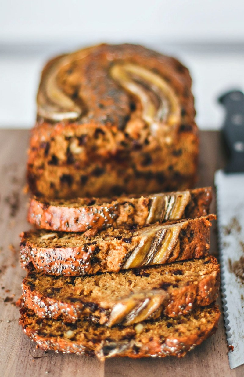 Walnut Chocolate Chip Banana Bread cut into slices.