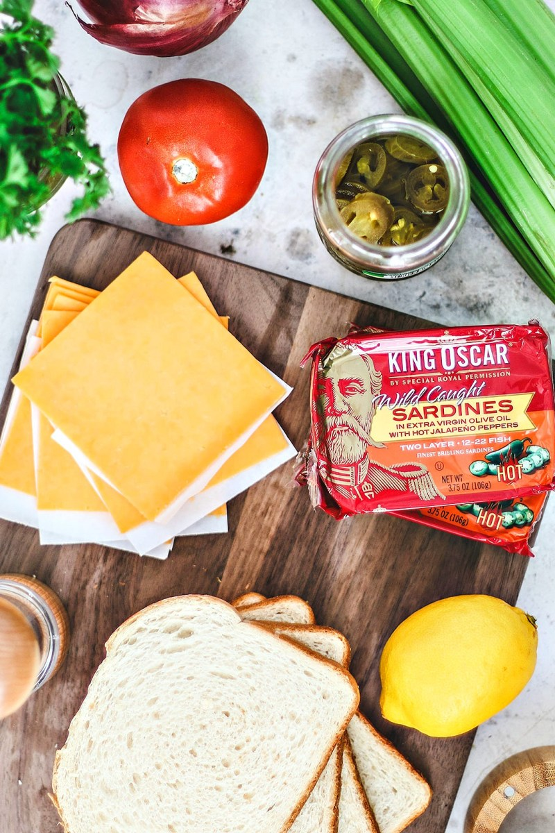 Ingredients for gourmet grilled cheese laid out.
