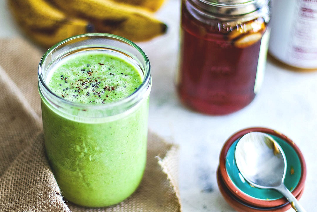 Peanut Butter Banana Spinach Smoothie prepared.