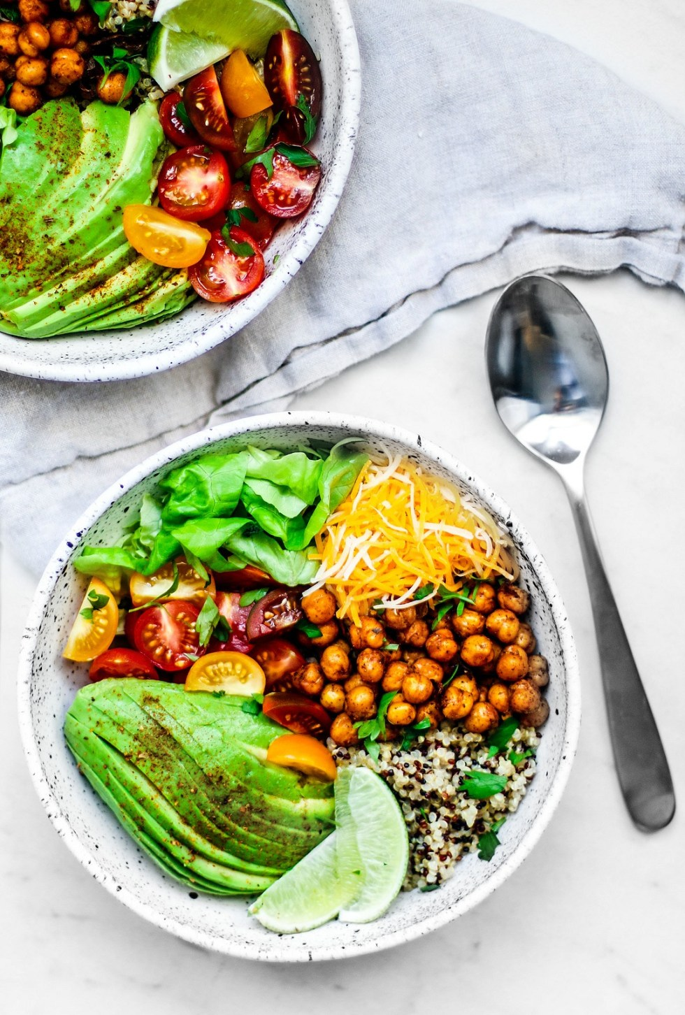 Taco Grain Bowls full of colorful ingredients.