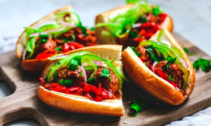 Close up of meatball subs.