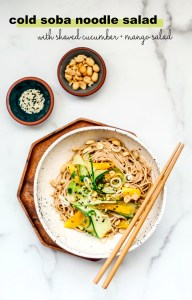 Cold Sesame Noodles with Shaved Cucumber and Mango Salad