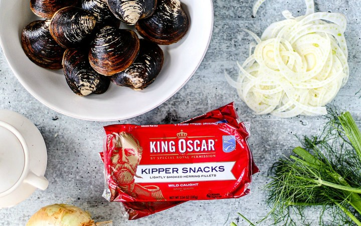 Package of King Oscar Kipper Snacks next to other ingredients.