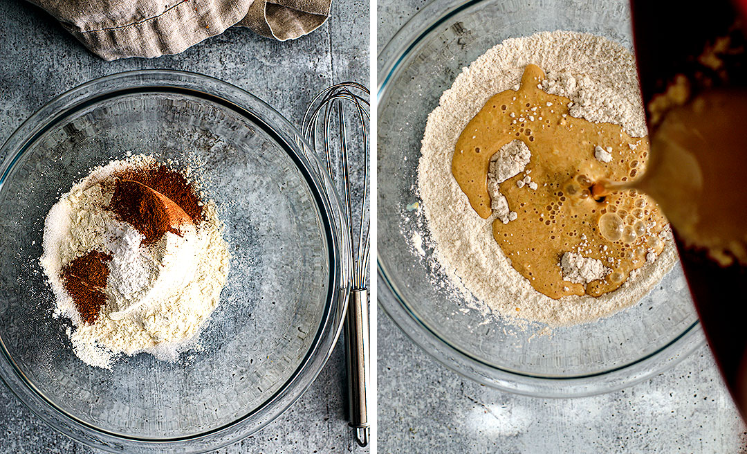 Collage: Bowl of dry ingredients and bowl of dry ingredients being mixed with wet ingredients.