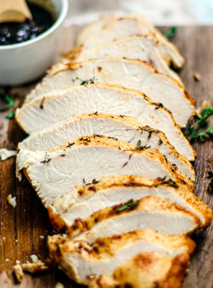 Close up of sliced tender turkey.