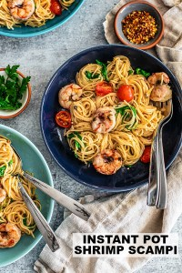 Spicy Instant Pot Pasta with Lemon, Tomatoes, and Arugula.