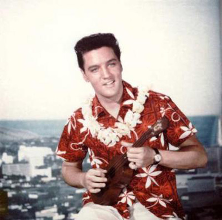 Elvis in hawaiian shirt ukelele