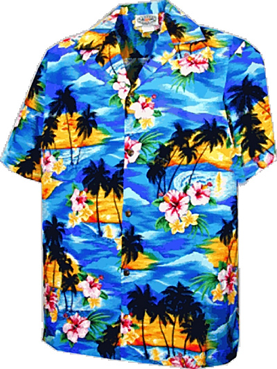 Sunset Palm in blue from Good Hawaiian Shirts