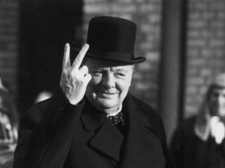 Winston Churchill Victory Two Fingers
