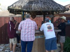 Gathered around the tiki hut