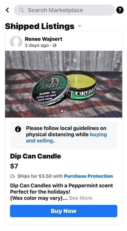 Dip Can Candle - Facebook Marketplace