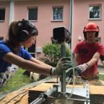 Baumstamm wird zu Holzbrettern mit Naturkante