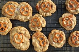 Tray of Salted Caramel Chocolate Chip & Pretzel Cookies