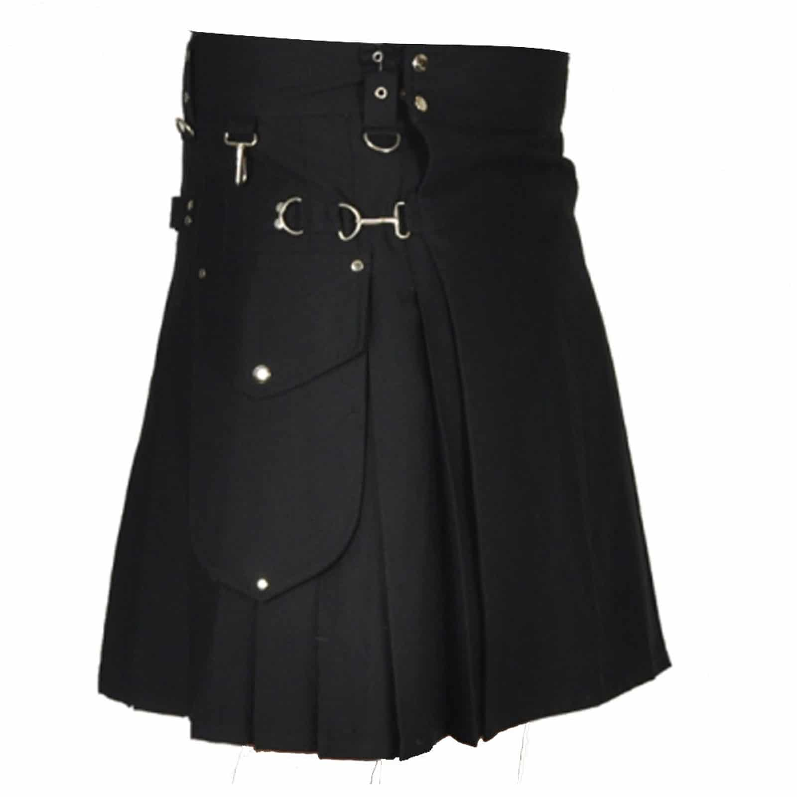 Stylish Black Utility Kilt