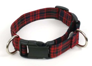 Poly-Viscose 1-Inch Tartan Dog Collar and Leash Set
