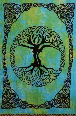 Tye-dyed Green Tree of Life Tapestry