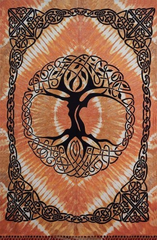 Tye-dyed Gold Tree of Life Tapestry