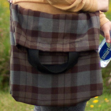 Medium Weight Poly/Viscose Messenger-Style Tartan Tote Bag