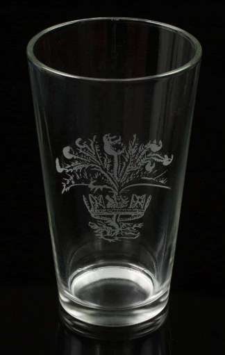 Crown and Thistle Engraved Glass