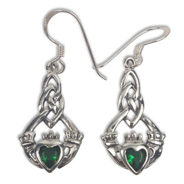 Claddagh Earrings with Green Stone
