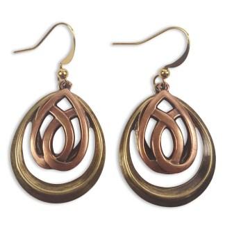 Copper and Brass Teardrop Earrings