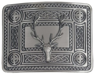Celtic Knot Kilt Belt Buckle with Stag Mount