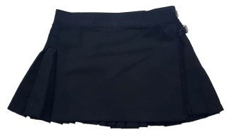 Solid Black Poly/Viscose Kilted Mini Skirt 31W 13L