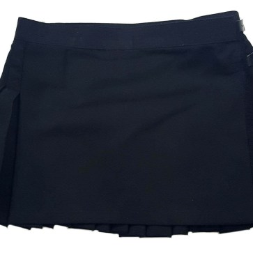 Solid Black Poly/Viscose Kilted Mini Skirt 31W 13L