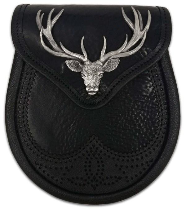 Stag Head Premium Leather Sporran