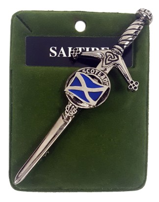 "Sword shaped kilt pin with the Saltire flag and ""Scotland"""