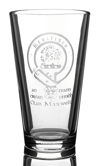CCT02-CL-1751 Maxwell Clan Crest 14 oz Beer Glass