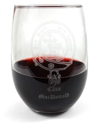 Clan Crest Stemless Wine Glass