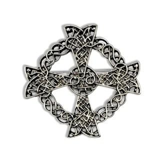 Celtic Cross Antiqued Pewter Brooch/Pendant