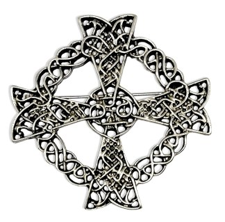Celtic Cross Antiqued Pewter Brooch/Pendant