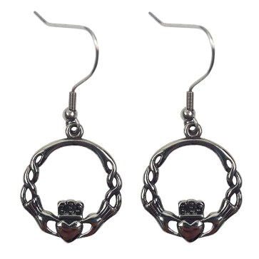 Stainless Steel Claddagh Knot Earrings