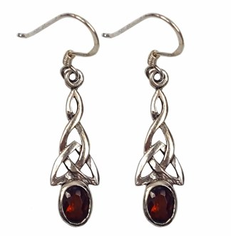 Garnet Triquetra Earrings