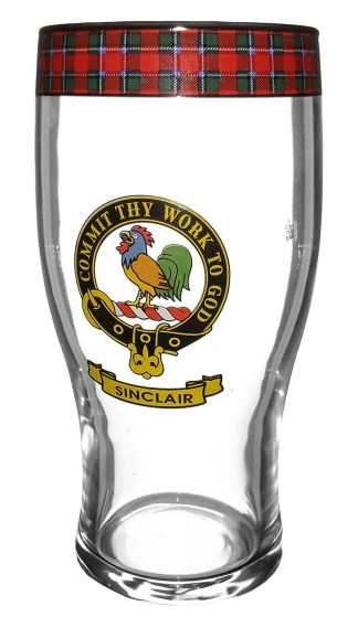 STCBG-CL-1770 Sinclair Clan Crest Tartan Pub Glass