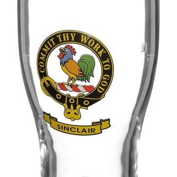 STCBG-CL-1770 Sinclair Clan Crest Tartan Pub Glass