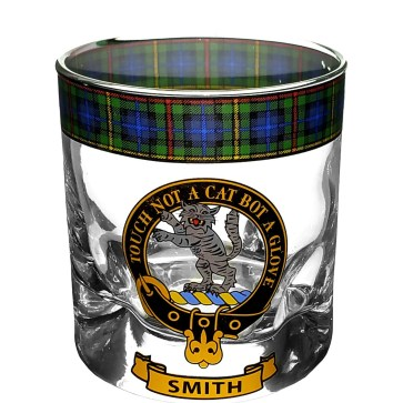 STCWG-CL-1768 Smith Clan Crest Tartan Whistky Glass