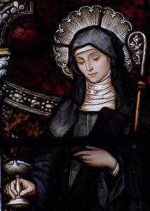 Saint Brigid in a Stained-Glass Window