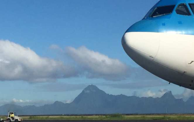 Plane and mountains. Pape'ete, Tahiti. Trip to New Zealand.