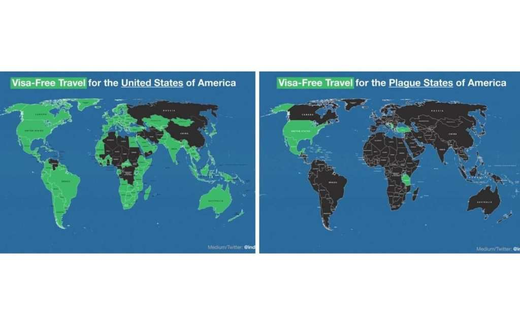 Map of where U.S. passport is accepted before and after Covid-19 pandemic
