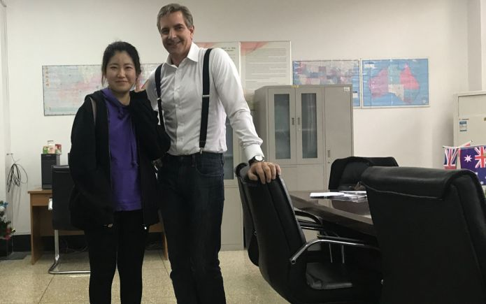 Way in office with a student at Shandon University, Jinan, China