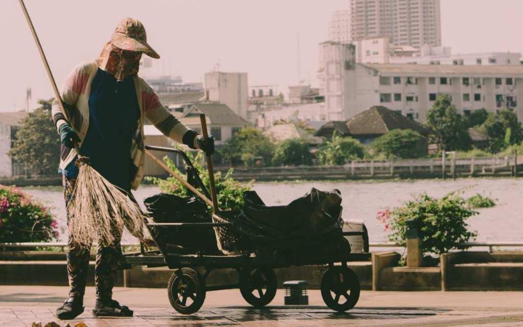 Bangkok, Thailand street sweeper