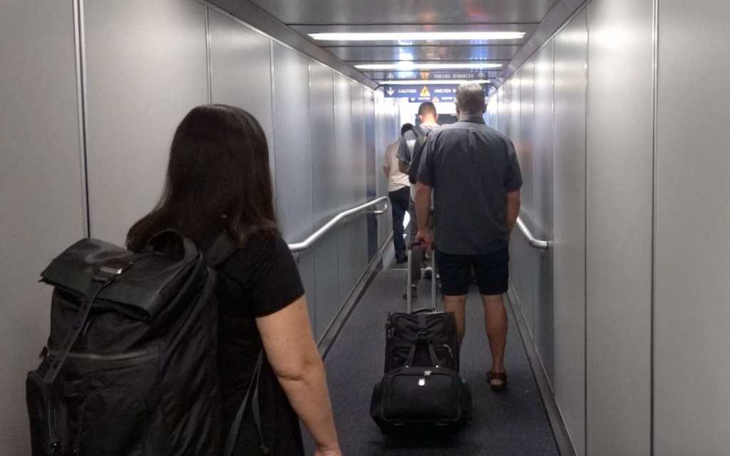 Crowded jetway - COVID-19 pandemic